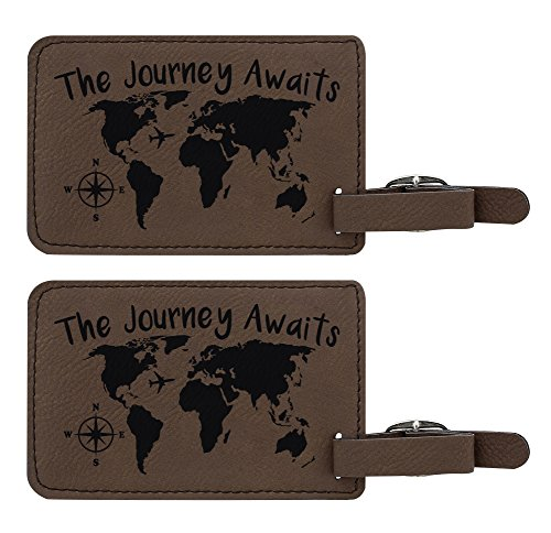 The Journey Awaits Leather Luggage Tags
