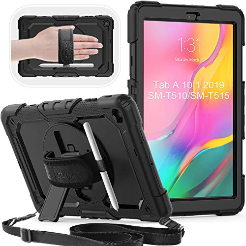SEYMAC Samsung Tab a 10.1 Case 2019, Samsung SM-T510 / SM-T515 Case, 3-Layer Protective Shockproof Case with Screen Protector, 360 Degree Swivel Stand/Hand Strap for Galaxy Tablet 10.1' 2019, Black