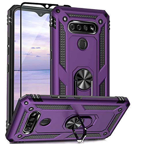 TJS Phone Case Compatible with LG K51, LG Q51, LG Reflect, with [Tempered Glass Screen Protector][Impact Resistant][Defender][Metal Ring][Magnetic Support] Cover (Purple)