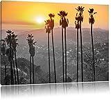 Aussicht auf den Hollywood Hills bei Sonnenuntergang schwarz/weiß Format: 120x80 auf Leinwand, XXL riesige Bilder fertig gerahmt mit Keilrahmen, Kunstdruck auf Wandbild mit Rahmen, günstiger als Gemälde oder Ölbild, kein Poster oder Plakat