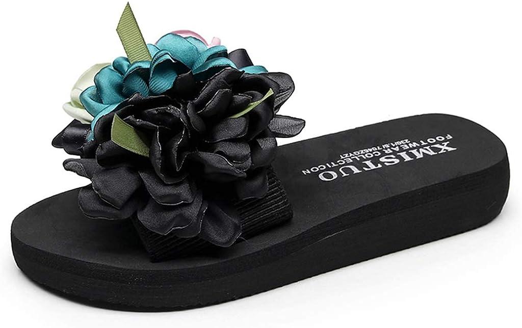 MIOKE Women's Bohemian Flowers Flat Slide Sandals Fashion Platform Anti-Slip Comfort Summer Beach Sandals