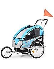 Remolque de bicicleta para niños 2 en 1 de tela Oxford + marco de acero, carga máxima de 40 kg, para 2 niños