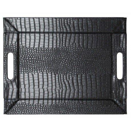 Freeform Mock Crock - 2in1 wendbares Tablett & Tischset mit Textur, schwarz/schwarz, Kunstleder, Maße: 45 x 35 cm