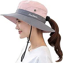 Ponytail Women's Summer Sun Bucket Hats UV Protection Safari Hiking Wide Brim Beach Foldable Mesh Fishing Cap