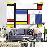 FOURFOOL Tapiz,Pintura moderna abstracta del modelo azul en geométrico colorido de la Bauhaus de Mondrian,Decoración de la Pared Manta Arte de la Pared Tapiz Dormitorio Sala de Estar Toalla de Playa