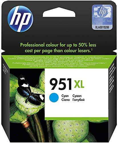 HP CN046AE 951XL Cartucho de Tinta Original de alto rendimiento, 1 unidad, cian