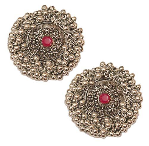 Pahal - Pendientes tradicionales de plata oxidada con perlas de Kundan de racimo grandes de Jhumka, joyería tribal de Bollywood del sur de la India para mujer