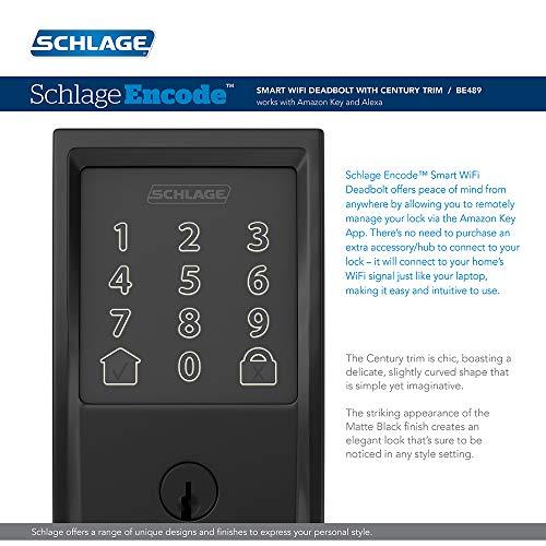 Schlage Encode Smart Wi-Fi Deadbolt with Century Trim in Matte Black