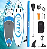 INTEY Tabla Paddle Surf Hinchable 305×76×15cm, Sup Paddle Remo Ajustable, Tabla Stand Up Paddle Board, Bomba de Doble, Seguridad