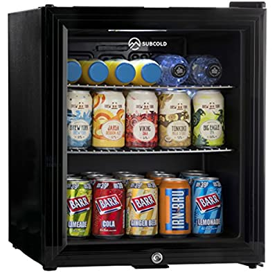 Subcold Super50 LED – Mini Fridge | 50L Beer, Wine & Drinks Chiller | LED Light + Lock & Key | Low Energy A+