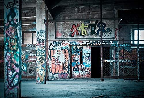 Fotografie Hintergründe Dark Warehouse Graffiti Room Interior Fotografische Kulisse für Fotostudio A9 2.7x1.8m