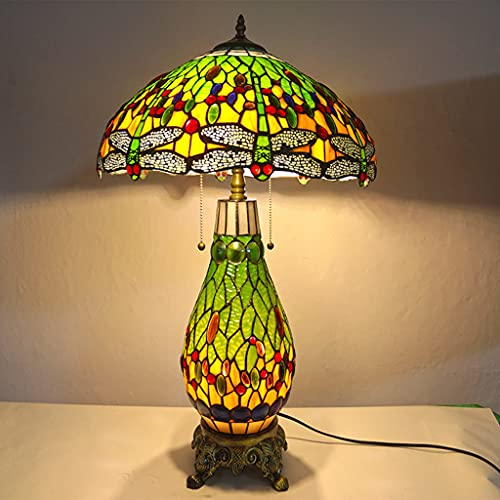 FVDS 45Cm/18Inches Retro Stained Glass Shade Bedside Lamp, Handmade Tiffany-Style Dragonfly Mother And Child Table Lamp, Decoration Living Room Bedroom Desk Lamp,E27/E26 (Color : Green)