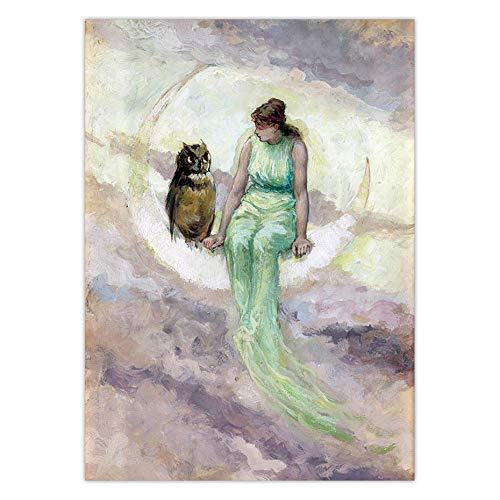 Pintura decorativa Póster Vintage la hija de la bruja Diosa de la luna pintura en lienzo mujer en la luna creciente búho antiguo cuento de hadas cuadro de arte de pared 50x75cm