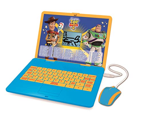 Lexibook Disney Toy Story 4 Woody Buzz Bilingual Educational Laptop, Learn and play-120 Activities to Discover Mathematics, Music, Knowledge, Logic, Games-Spanish/English, JC595TSi1, Blue/Yellow