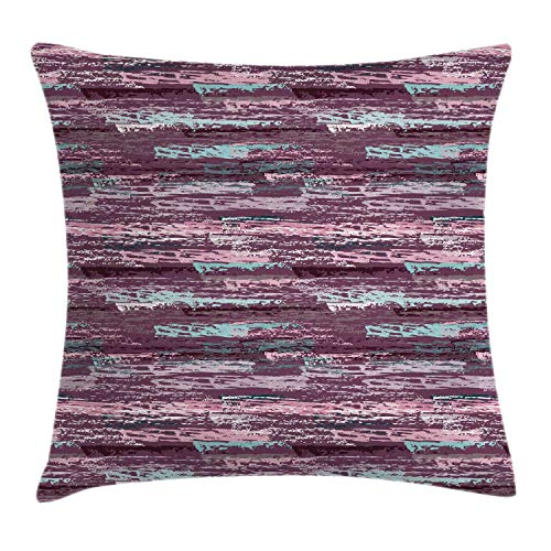DJNGN Grunge Cushion Cover, Repetitive Abstract Brush Strokes in Purple Tones Illustration Print,Interest Throw Pillow Cover For Drawing Room, Mauve Taupe Pale Rose 45x45cm