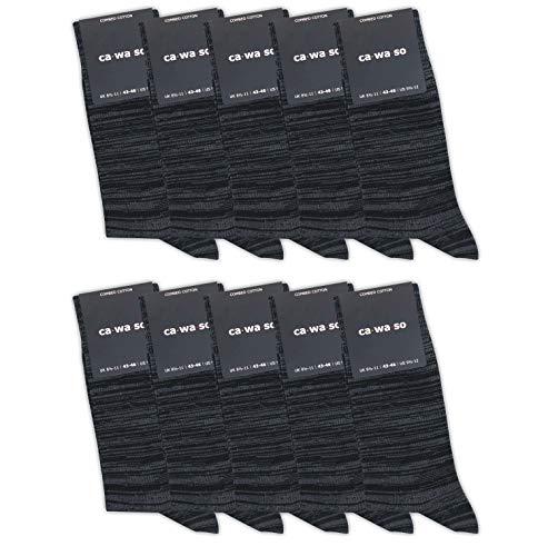 ca·wa·so 10 Paar hochwertige Socken ohne drückende Naht - Damen und Herren - weiche Baumwolle - Business und Freizeit (47-50, schwarz degradée)