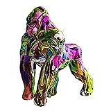 Generic Nordique Peint Graffiti Coloré Gorilla Figurine Animaux Sculpture Statue de Bureau Métier de Résine de Bureau À Domicile Décor Cadeau - B