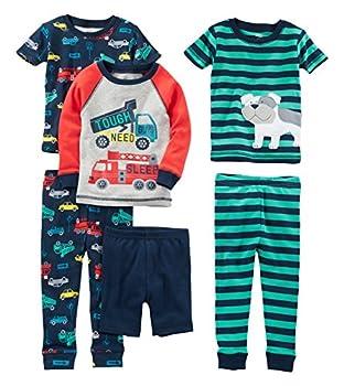 Simple Joys by Carter s Baby Boys  Toddler 6-Piece Snug Fit Cotton Pajama Set Transportation/Dog 3T