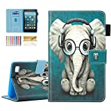 Dteck Shockproof Case for Kindle Fire 7 Tablet (9th Generation 2019 & 7th Generation 2017 & 5th Generation 2015) - Slim Smart Stand Pretty Flip Leather Cover Case with Auto Sleep Wake-Music Elephant