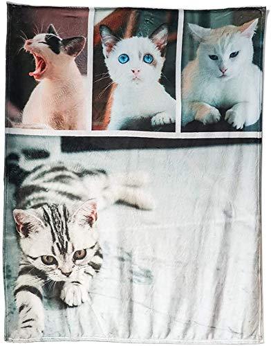 Manta Personalizada, Mantas con Fotos Personalizadas Franela Regalos de Foto de Pareja Mascota Gato Perro Cumpleaños de Boda Bebé Sofá Cama