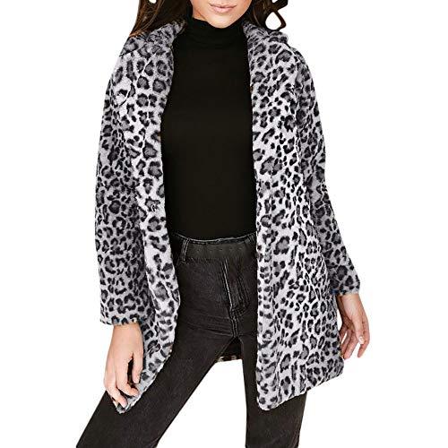 Lucky Mall Frauen Leopard Reizvoller Winter Warmer Mantel, Kunstpelzmantel Cardigan Outwear Mantel