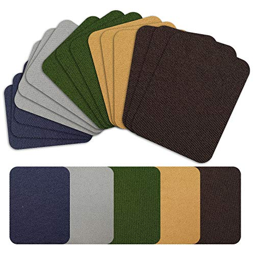 Iron on Patches Repair Kit 20 Pieces for Fabrics Clothing Jeans,5 Colors,4.9' x 3.7'