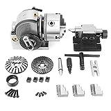 BS-0 Kit de cabezal divisorio, CNC Mill Semi Universal Precision 3Jaw 5'Chuck Tailstock Dividing Plate Set, accesorios de rotativa profesional para fresadora