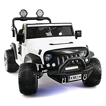 Explorer 2  Two  Seater 12V Power Kids Ride-On Car Truck with R/C Parental Remote + EVA Rubber LED Wheels + Leather Seat + MP3 Music Player Bluetooth FM Radio + LED Lights  White
