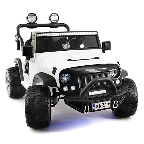 Explorer 2 (Two) Seater 12V Power Kids Ride-On Car Truck with R/C Parental Remote + EVA Rubber LED Wheels + Leather Seat + MP3 Music Player Bluetooth FM Radio + LED Lights (White)