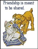 クロスステッチ刺繍キット 遊ぶ犬と猫 11CT プリント正確な図柄印刷手芸用品 Cross Stitch ために 大人初心者 裁縫 刺繍糸 針 布 家庭刺繍装飾品 壁の装飾-40x50cm