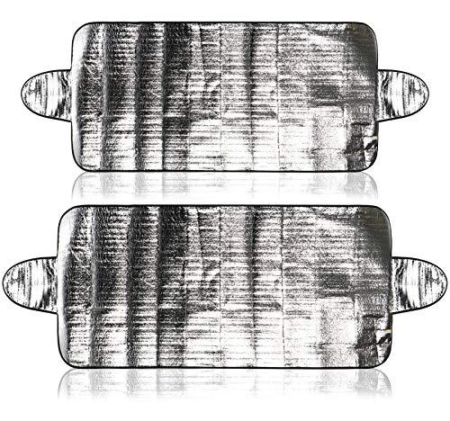 com-four® 2X Abdeckung für die Frontscheibe im Winter und Sommer, Auto Frostabdeckung für die Windschutzscheibe auch gegen UV-Strahlung, Sonne, Staub, EIS, Frost und Schnee