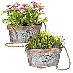 LIVIVO OVAL HANGING PLANT POT - Our plant pots are great for indoor plant, flower or herb garden uses HIGH QUALITY ZINC METAL AND JUTE ROPE DETAIL - Each of the plant pots are finished with a rope edge - an ideal slug and snail repellent - as well as...