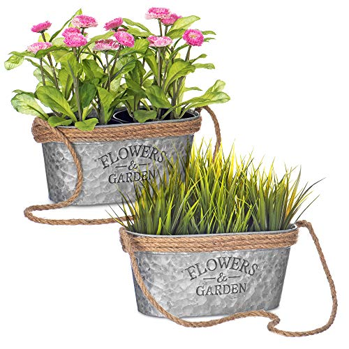 LIVIVO Zinc Plant Pot with Anti-Slug Cotton Rope Handles and 'Flowers & Garden' Design for Outdoor or Indoor Garden, Flower Pot, Herb Garden or Avocado Vase (Set of 2, Oval)