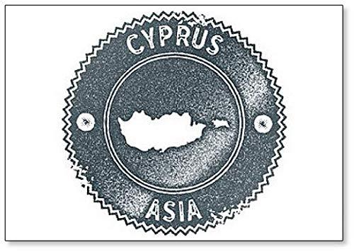 Cyprus kaart Vintage stempel. Donkerblauwe Illustratie Koelkast Magneet