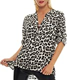 Malito Damen Bluse mit Leo Muster | Tunika mit ¾ Armen | Longsleeve mit Animal Print | Elegant - Oversize - Shirt 6702 (beige)