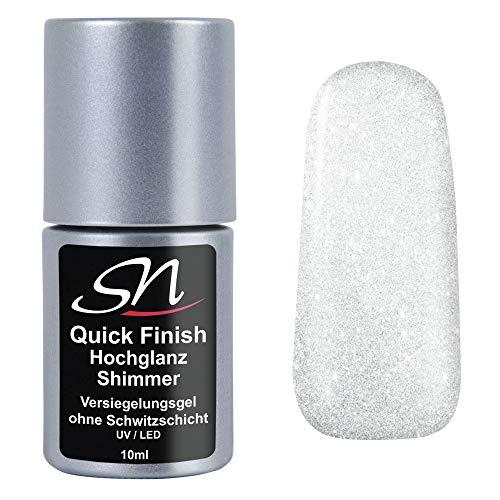 SN Nageldesign Quick Finish Shimmer milchig weiss mit Silber Glitzer Hochglanz Versiegelungsgel ohne Schwitzschicht High Gloss Nagelgel UV Top Coat LED Flex Gel 10ml