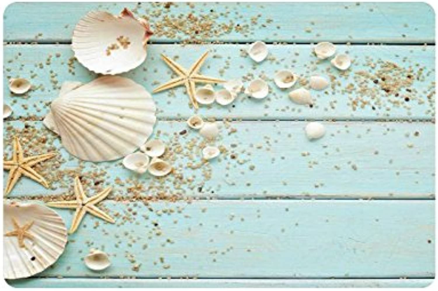 INTERESTPRINT bluee Anti-Slip Door Mat Home Decor, Seashells Starfish Indoor Outdoor Entrance Doormat Rubber Backing 23.6 X 15.7 Inches