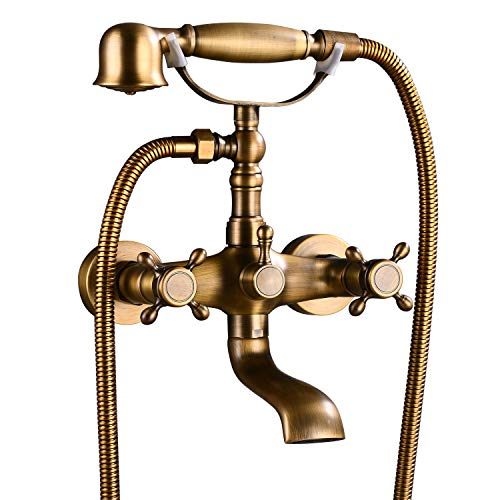 Aolemi Wall Mount Antique Brass Bathtub Faucet with Hand Shower Sprayer Bathroom Tub Faucet Double Cross Handle Telephone Shaped Handheld Sprayer Shower Set Mixer Tap Vintage
