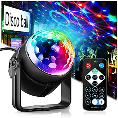 Disco Ball Light Disco Lights Party Lights GEELIGHT LED 7 Colors Effect Projector with Remote Control Sound Activated Strobe Stage Lights Magic Ball Light for Christmas Gift Bar Club Birthday Party