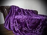 Natur-Fell-Shop XXL Luxus Kuscheldecke Tagesdecke Decke lila/violett 200x240cm