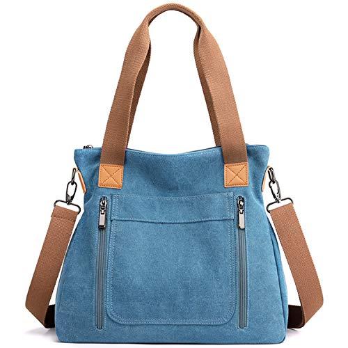 Borse da lavoro vintage casual a tracolla da donna in tela, blu (Scarpette a strappo Voltaic 3 Velcro Fade - Bambini), Taglia unica