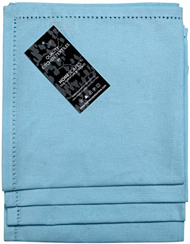 HOMESCAPES Serviettes de Table en Coton, Lot de 4, Linge de Table uni, Bleu