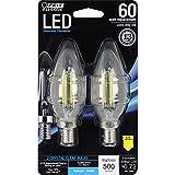 Feit Electric BPCTC60/850/LED/2 Chandelier Bulb, Candelabra Base, Clear Torpedo Tip, 60 Watt Equivalent Daylight, 2 Pack