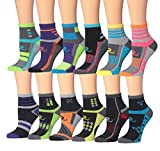 Ronnox Women's 12-Pairs Running & Athletic Sports Performance Ankle/Quarter Socks (RQ12-AB-SM)
