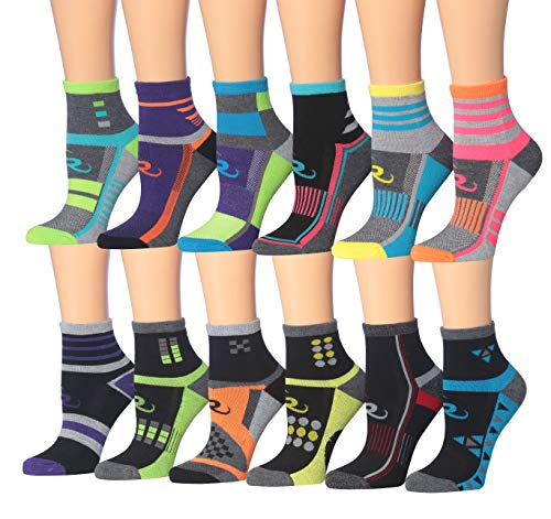 Ronnox Women's 12-Pairs Running & Athletic Sports Performance Ankle/Quarter Socks (RQ12-AB-SM)