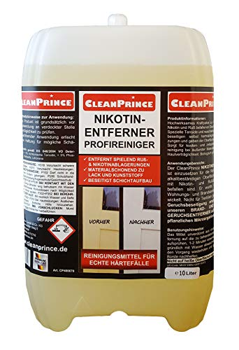 Cleanprince Nikotinentferner 10 Liter Nikotinreiniger Rußentferner Nikotin-Entferner