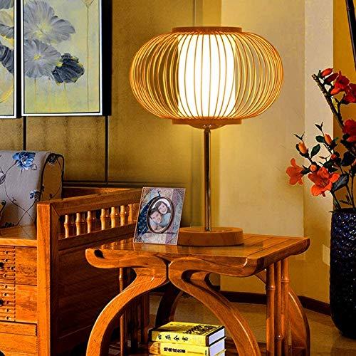 GYC Ciondolo o Paralume da Tavolo Fatto a Mano in Rattan, Lampada da Tavolo a Doppia Pelle Intrecciata in bambù sul Comodino, Forma di Mela/Marrone Naturale (25 * 35 cm)