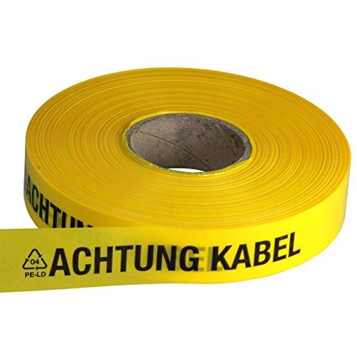 ACHTUNG KABEL Trassen-Warnband/Trassenband/Warnband/Band 250 m x 40 mm, gelb