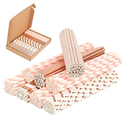 PATAZOK 200 Pezzi Cannucce di Carta,Cannucce di Carta Biodegradabili Oro Rosa Cannucce di Carta per Feste Bevande Monouso Conveniente Festa di Compleanno