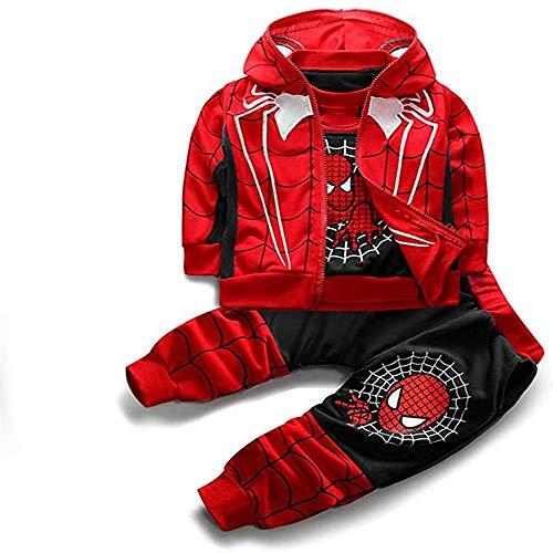 3Piece Toddler Little Kids Baby Boys Spiderman Outfits Set,Long Sleeve Pullover Sweatshirt Vest Hoodie Pants Clothing Suit - Black - 6-7 Years